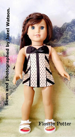 "1950s Swimsuit and Retro Swim Cap Bundle 18"" Doll Clothes Pattern"