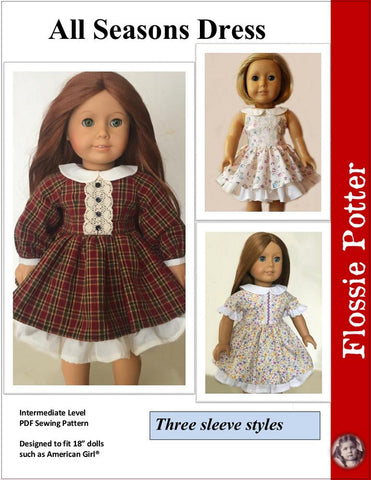 "All Seasons Dress 18"" Doll Clothes PDF"