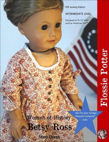"Betsy Ross Shop Dress 18"" Doll Clothes"
