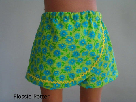 "Flossie Potter 18 Inch Modern Sunny Skort Set 18"" Doll Clothes Pattern Pixie Faire"