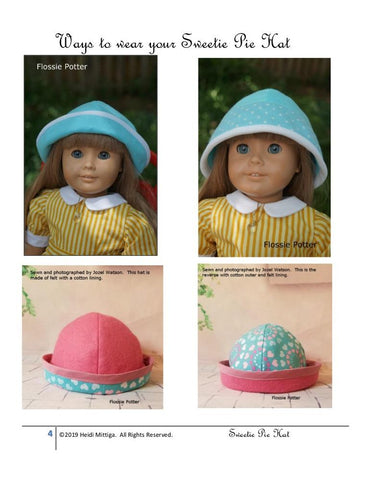 "Sweetie Pie Hat 18"" Doll Clothes Pattern"