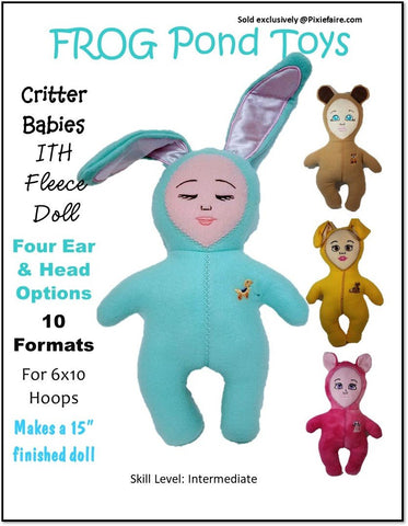 "Critter Babies 6 x 10  ITH 15"" Soft Doll Machine Embroidery Design"