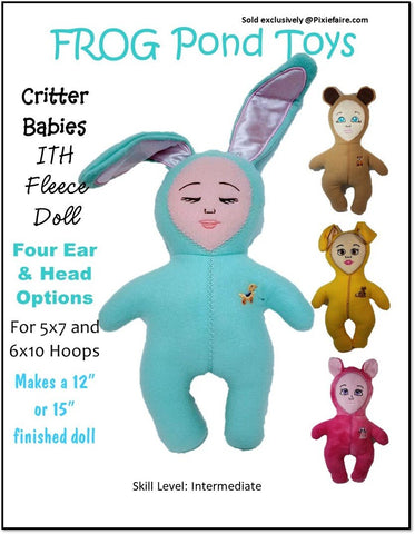 "Critter Babies 12"" and 15"" ITH Soft Doll Bundle Machine Embroidery Design"