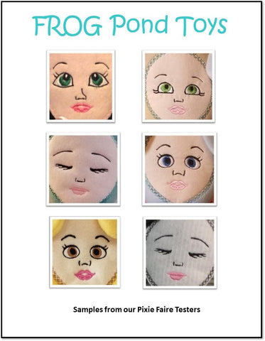 Critter Babies Doll Faces Set Machine Embroidery Design