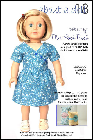 "Flour Sack Frock 18"" Doll Clothes Pattern"