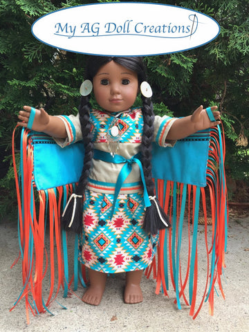 pdf doll clothes sewing pattern Fancy Dancer powwow native american indian dress designed to fit 18 inch American Girl dolls