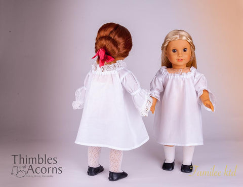 PDF doll clothes sewing pattern Thimbles and Acorns 18th Century Fancy Shift Dress designed to fit 18 inch American Girl dolls