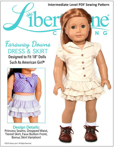 Liberty Jane 18 inch doll clothes pattern Faraway Down Dress and Skirt