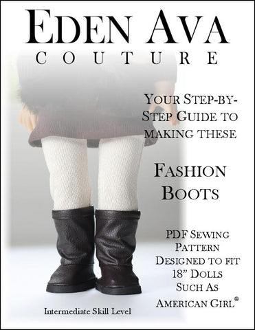 "Fashion Boots 18"" Doll Shoe Pattern"