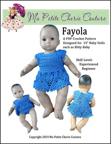 "Fayola 15"" Baby Doll Clothes Crochet Pattern"