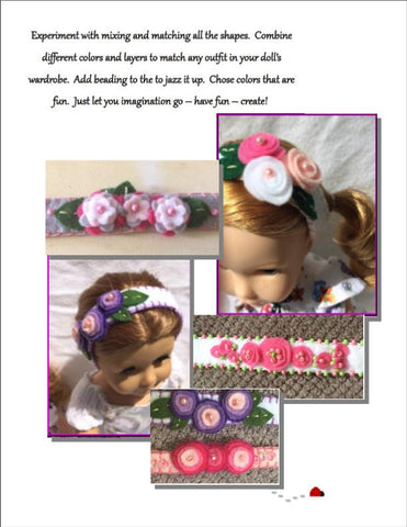 Felt Flower Headbands 14 to 18 Inch Doll Accessory Pattern