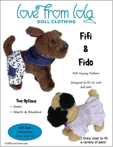 "Love From Lola 18 Inch Modern Fifi and Fido 18"" Doll Pet Pattern Pixie Faire"