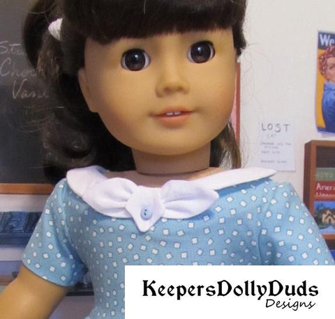 Keepers Dolly Duds Fifties Flair pdf doll clothes sewing pattern designed to fit 18 inch American Girl dolls