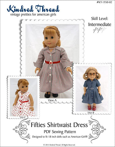 "Kindred Thread FREE 18 Inch Historical Fifties Shirtwaist Dress 18"" Doll Clothes Pixie Faire"