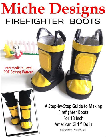 "Miche Designs 18 Inch Modern Firefighter Boots 18"" Doll Shoes Pixie Faire"