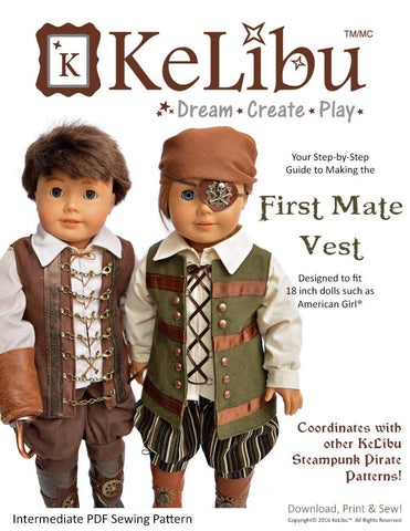 "First Mate Vest 18"" Doll Clothes"