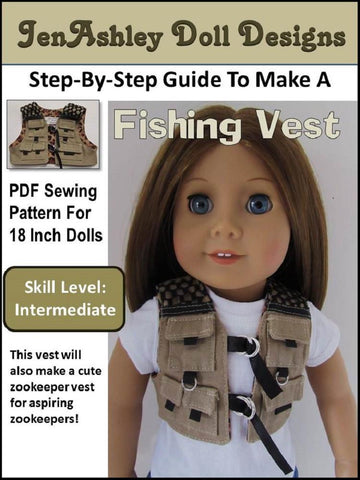 "Jen Ashley Doll Designs 18 Inch Modern Fishing Vest 18"" Doll Clothes Pixie Faire"