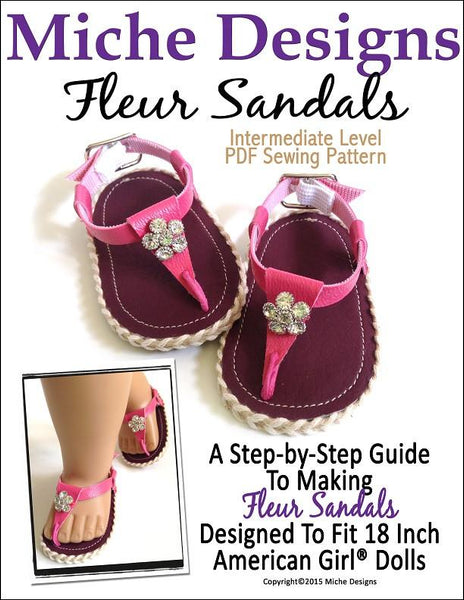 Miche Designs Fleur Sandals Doll Clothes Pattern 18 inch ...