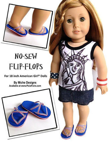 "No Sew Flip Flops 18"" Doll Shoes"