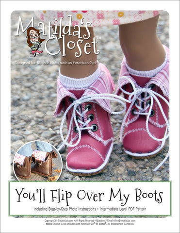 "Matilda's Closet Shoes You'll Flip Over My Boots 18"" Doll Shoes Pixie Faire"