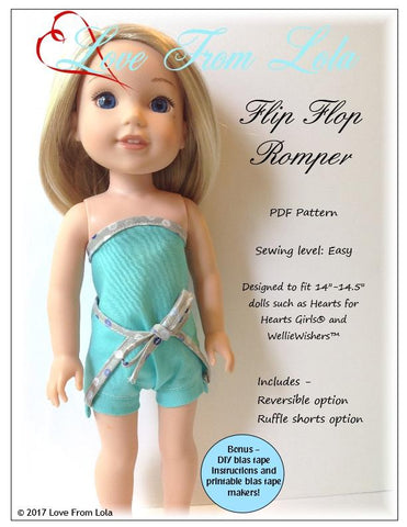 "Flip Flop Romper 14-14.5"" Doll Clothes Pattern"
