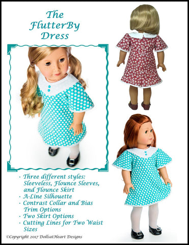 "Flutterby Dress 18"" Doll Clothes Pattern"