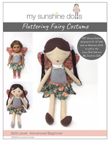 "My Sunshine Dolls 18 Inch Modern Fluttering Fairy Costume Pattern for 18"" dolls and 23"" My Sunshine Cloth Dolls Pixie Faire"