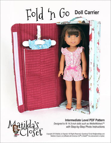 "Matilda's Closet WellieWishers Fold 'n Go Doll Carrier 14.5"" Doll Accessory Pattern Pixie Faire"