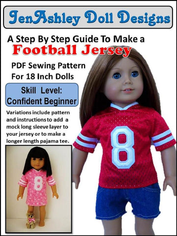 "Jen Ashley Doll Designs 18 Inch Modern Football Jersey 18"" Doll Clothes Pixie Faire"
