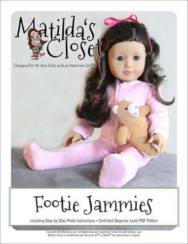 "Footie Jammies 18"" Doll Clothes"
