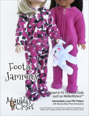 "Matilda's Closet WellieWishers Footie Jammies 14.5"" Doll Clothes Pattern Pixie Faire"