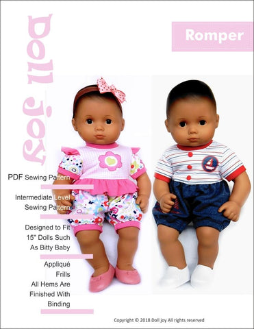 "Doll Joy Bitty Baby/Twin Romper 15"" Baby Doll Clothes Pattern Pixie Faire"