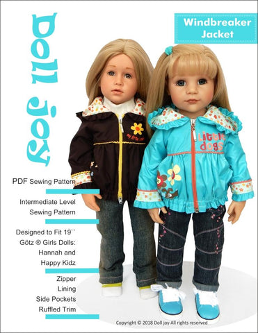 "Windbreaker Jacket Pattern for 19"" Gotz Dolls"