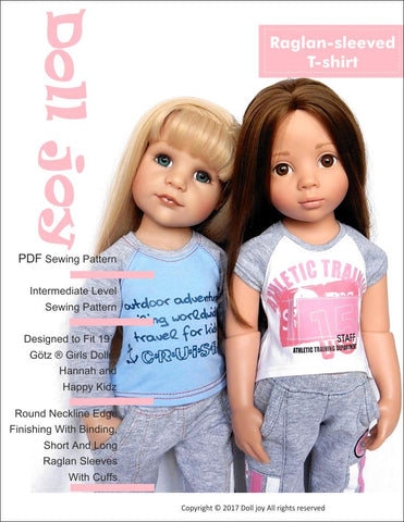 "Raglan-Sleeved T-shirt Pattern for 19"" Gotz Dolls"