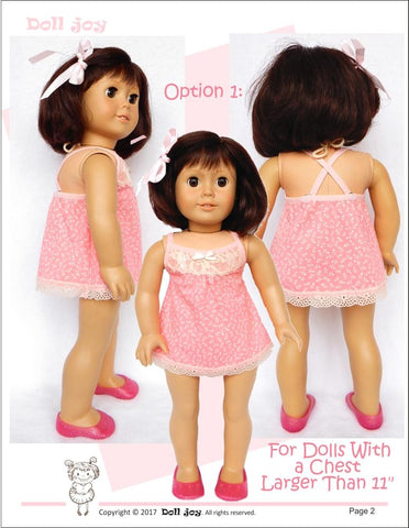 "Camisole and Panties 18"" Doll Clothes Pattern"