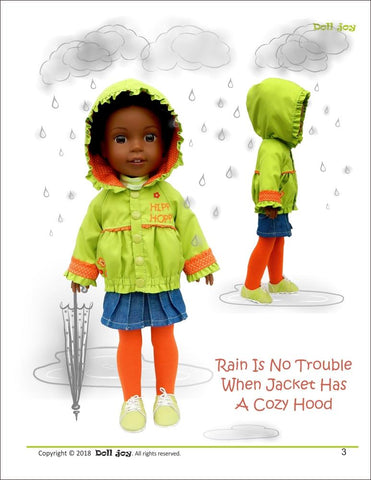"Doll Joy WellieWishers Windbreaker Jacket 14.5"" Doll Clothes Pattern Pixie Faire"