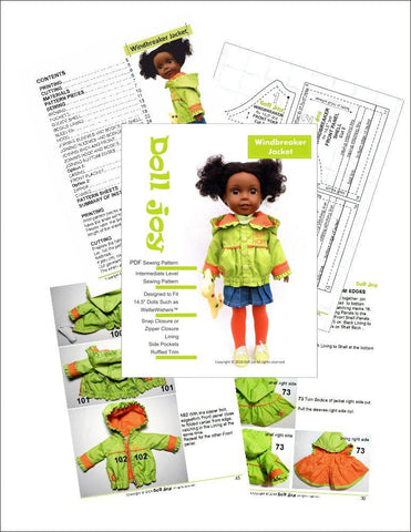14.5 Inch Doll Clothes PDF Sewing Pattern windbreaker rain jacket designed to fit WellieWishers