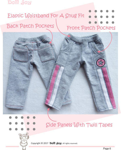 "Active Pants Pattern for 19"" Gotz Dolls"