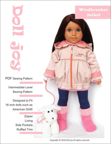 "Windbreaker Jacket 18"" Doll Clothes Pattern"