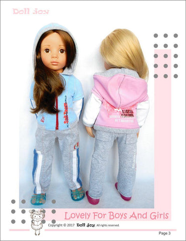 "Zip Through Hoody Pattern for 19"" Gotz Dolls"