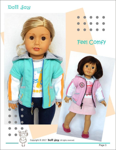"Zip Through Hoody 18"" Doll Clothes Pattern"
