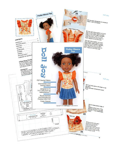 14.5 inch PDF sewing pattern flutter sleeve top designed to fit WellieWishers™