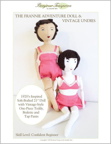 "Frannie Adventure Doll with Vintage Undies 21"" Cloth Doll Pattern"