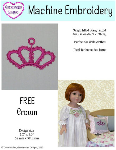 Genniewren Machine Embroidery Design Free Crown Machine Embroidery Design Pixie Faire