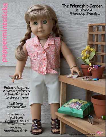 "The Friendship Garden Tie Blouse and Friendship Bracelets 18"" Doll Clothes Pattern"