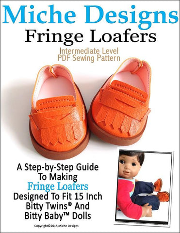 "Fringe Loafers 15"" Baby Doll Shoes"