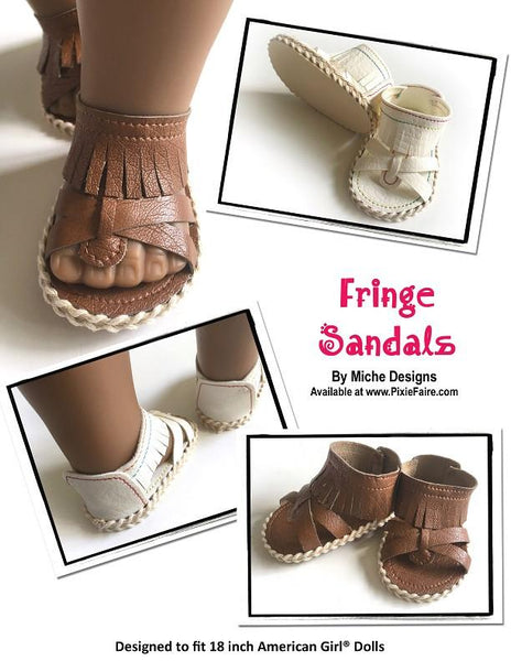 Miche Designs Fringe Sandals Doll Shoe Pattern 18 Inch