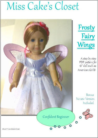 "Miss Cake's Closet 18 Inch Modern Frosty Fairy Wings 18"" Doll Accessory Pattern Pixie Faire"