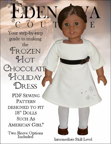 "Eden Ava 18 Inch Modern Frozen Hot Chocolate Holiday Dress 18"" Doll Clothes Pattern Pixie Faire"