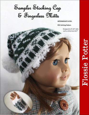 "Sampler Stocking Cap and Mitts 18"" Doll Knitting Pattern"